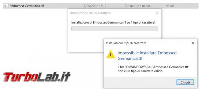 Come risolvere l'errore nell'installazione font Windows 10