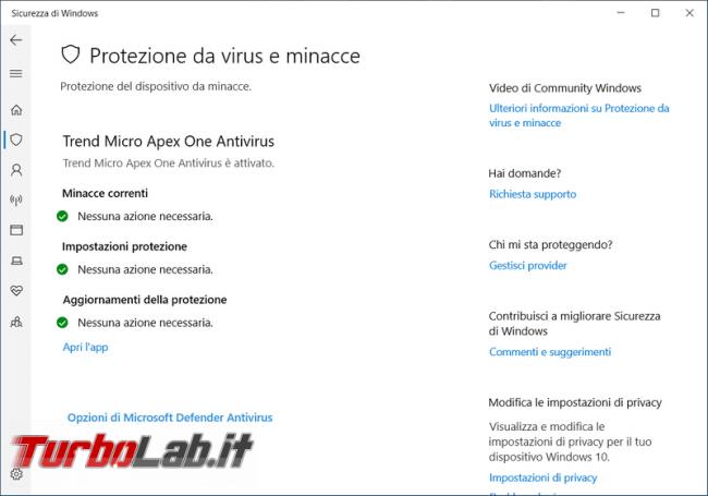 """Come risolvere l'errore """"Nessun provider antivirus attivo. dispositivo è vulnerabile"""" Windows 10"""