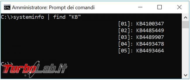 Come salvare lista aggiornamenti installati Windows