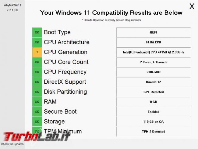 Come scoprire quale componente PC non è compatibile Windows 11