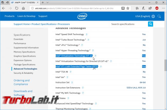 Come scoprire se CPU è dotata SLAT supporto hardware virtualizzazione ed abilitare Intel VT-x AMD-V BIOS/UEFI (Hyper-V, VirtualBox, VMware)