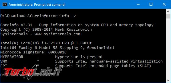 Come scoprire se CPU è dotata SLAT supporto hardware virtualizzazione ed abilitare Intel VT-x AMD-V BIOS/UEFI (Hyper-V, VirtualBox, VMware) - Mobile_zShot_1505599058