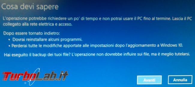 Come si disinstalla l'aggiornamento Windows 10