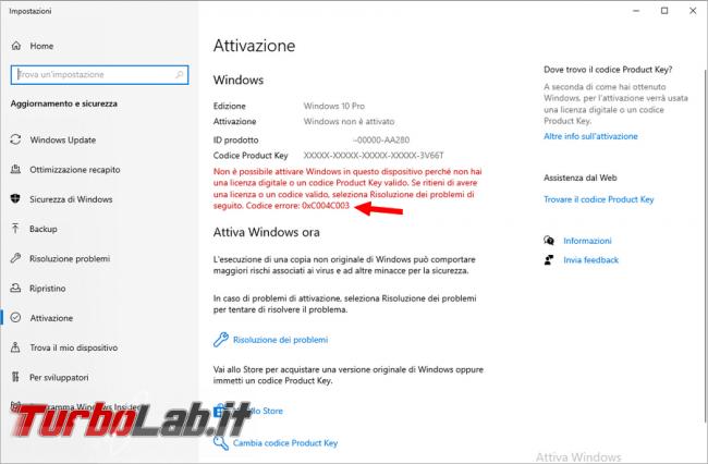 Come superare l'errore 0xC004C003 riuscire attivare Windows 10