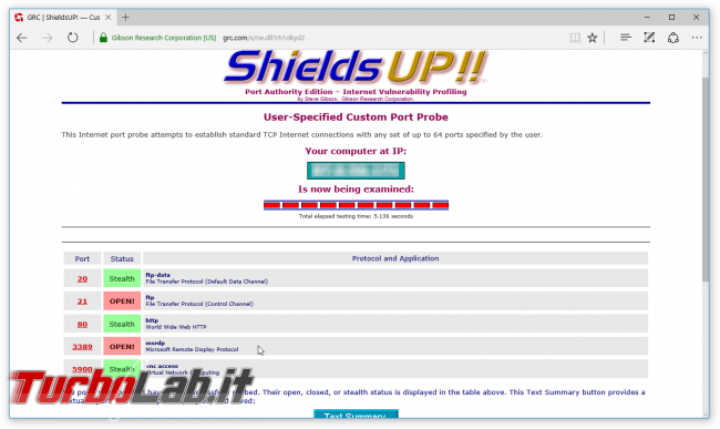 Come testare se porta router/firewall è aperta? guida Port scan Shields Up! - shields up port open