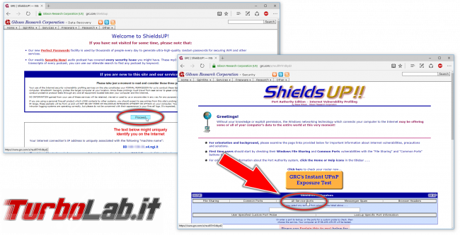 Come testare se porta router/firewall è aperta? guida Port scan Shields Up! - shields up port scan