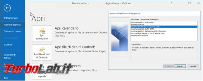 Come trasferire file posta PST Microsoft Outlook nuovo PC