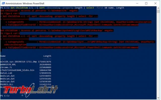 Come trovare file più grandi presenti disco fisso PowerShell
