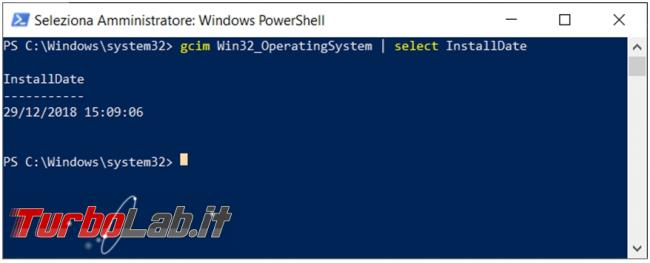 Come trovare / scoprire / visualizzare data d'installazione Windows