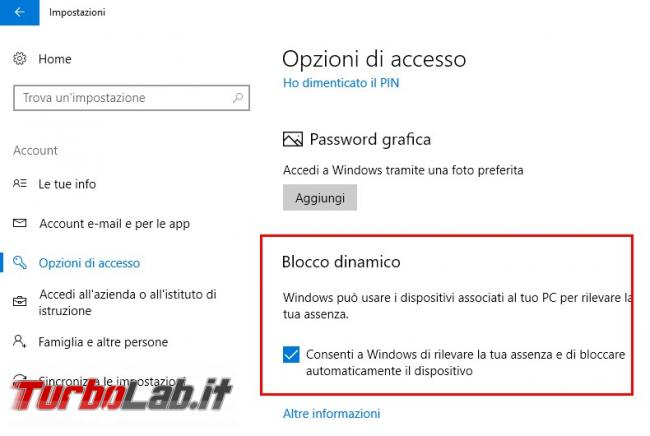 Come usare blocco dinamico Windows 10 (Creators Update) bloccare automaticamente PC quando ci allontaniamo
