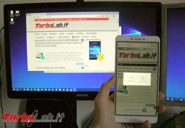 Come usare Continua PC smartphone Android PC Windows 10 - foto continua su pc windows 10 android
