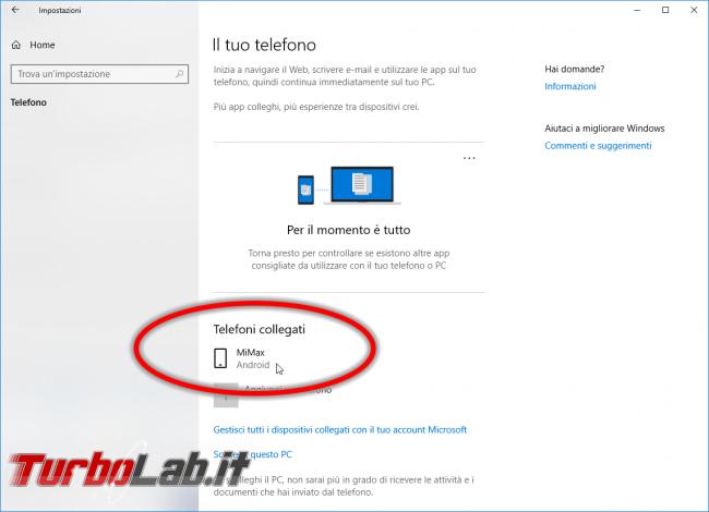 Come usare Continua PC smartphone Android PC Windows 10 - Mobile_zShot_1534344585