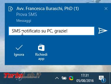 Come usare Continua PC smartphone Android PC Windows 10 - windows 1607 notifica sms da android