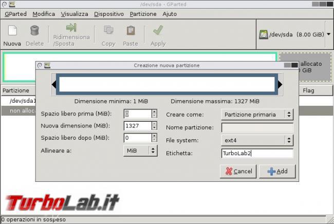 Come usare GParted modificare partizioni disco fisso