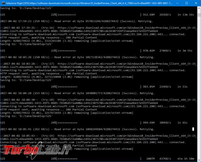 Come usare wget Windows scaricare file connessioni instabili resume retry automatici (Operazione non riuscita - Errore rete)