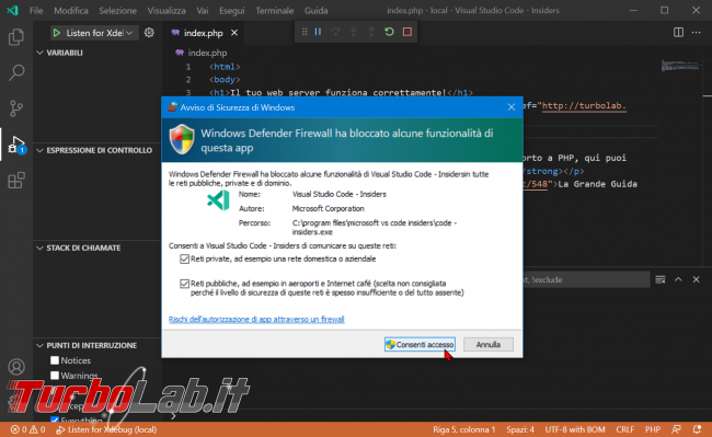 Come usare Xdebug Visual Studio Code: Guida Definitiva debug PHP ( breakpoint ed esecuzione step Windows 10 Linux) - zShotVM_1622712928