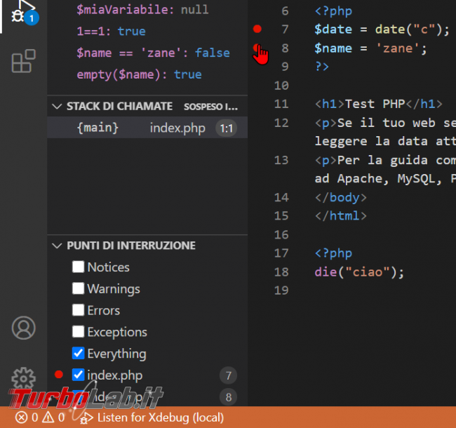 Come usare Xdebug Visual Studio Code: Guida Definitiva debug PHP ( breakpoint ed esecuzione step Windows 10 Linux) - zShotVM_1622726231