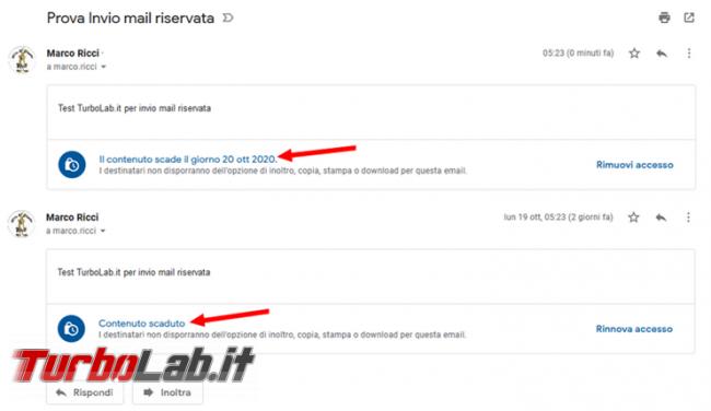 Come utilizzare Gmail spedire email riservata destinatario data scadenza