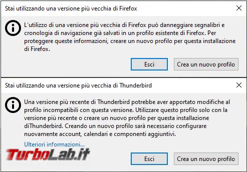 Come utilizzare profilo nuovo Thunderbird Firefox versione più vecchia programma