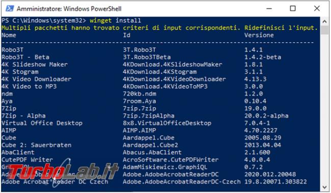 Come utilizzare Winget installare programmi linea comando