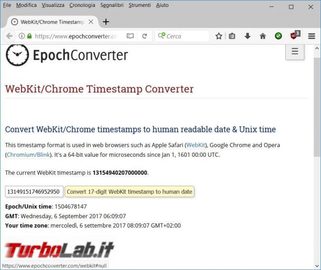 Come vedere data creazione l'utilizzo collegamento Chrome Opera