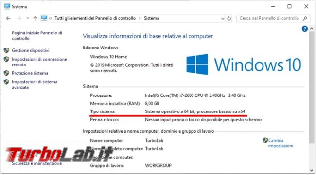 Come vedere se PC ha processore 64 bit (CPU x64) Windows 10 Linux