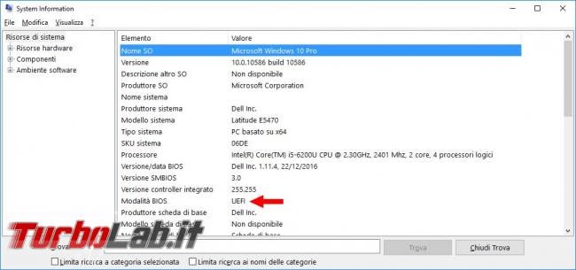 Come verificare direttamente Windows 10 se BIOS è UEFI Legacy