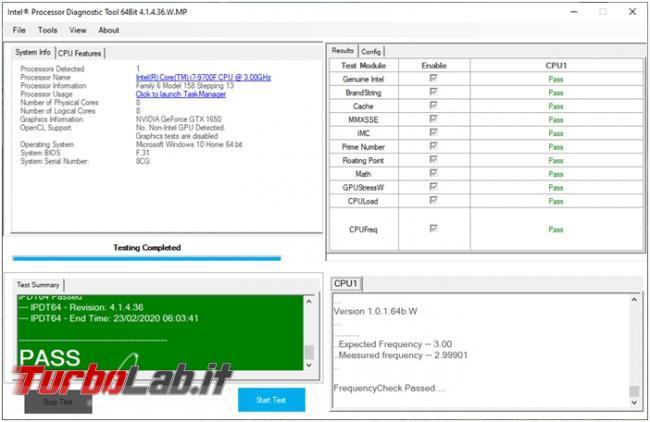 Come verificare funzionalità processore Intel computer