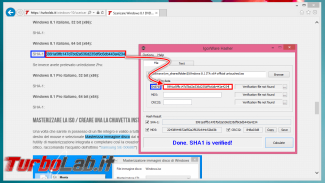 Come verificare integrità file scaricato SHA-1 MD5 - IgorWare Hasher verify ok