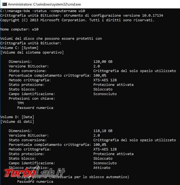 Come verificare remoto se crittografia Bitlocker è attiva computer