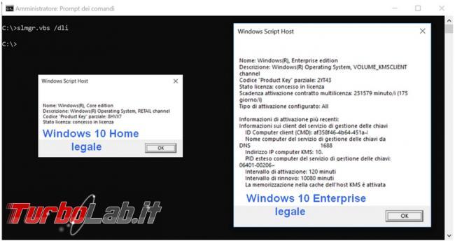 Come verificare se sistema operativo Windows 10 è stato attivato maniera illegale