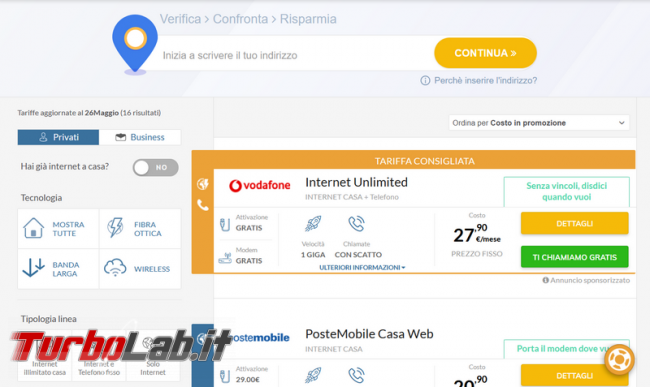 Come verificare velocità linea casa L fibra collegamento Internet