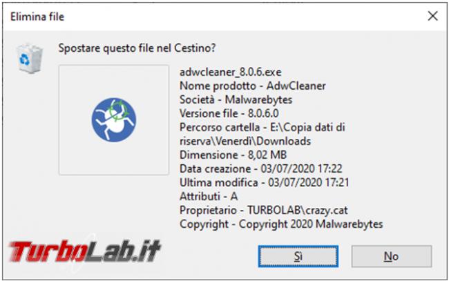 Come visualizzare maggiori dettagli schermata conferma eliminazione file