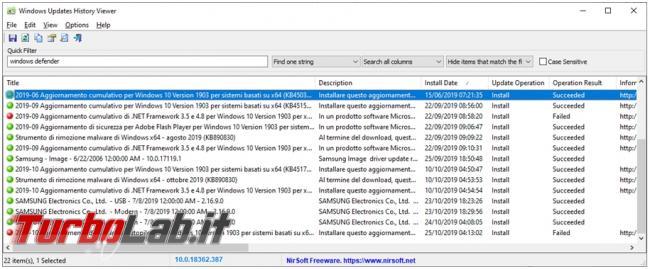 Come visualizzare salvare lista aggiornamenti installati Windows 10