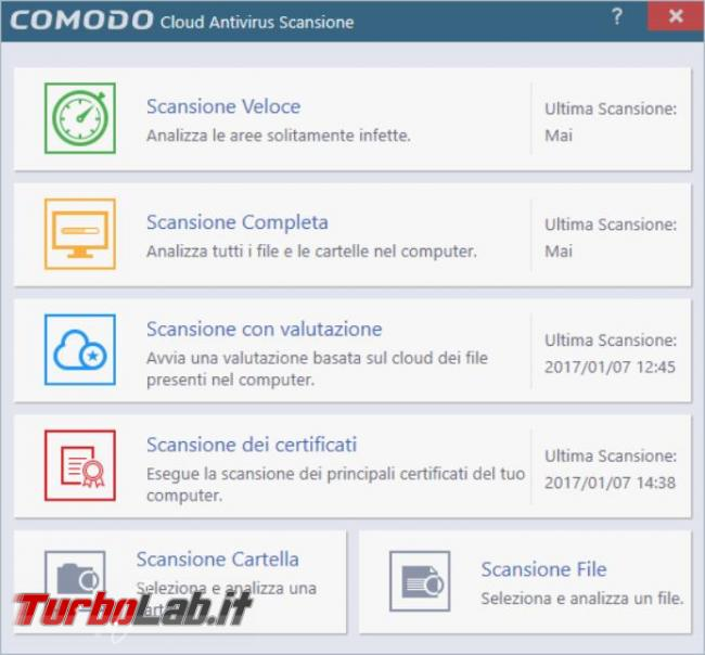 Comodo Cloud Antivirus prova TurboLab.it