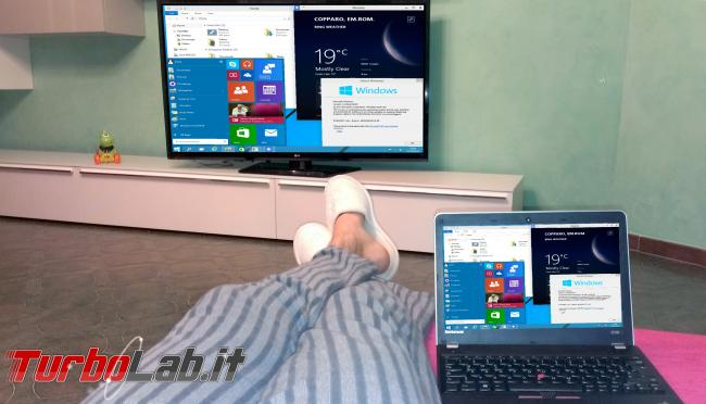 Compatibilità Miracast: come scopro se PC, notebook, tablet Windows è grado trasmettere senza fili TV? - Notebook e TV sala miracast da windows