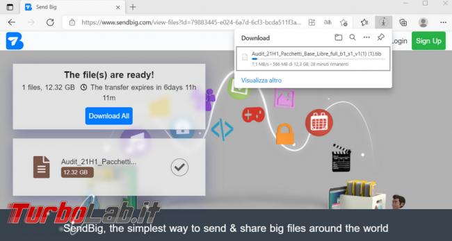 Condividi altre persone file sino 30 GB servizio SendBig