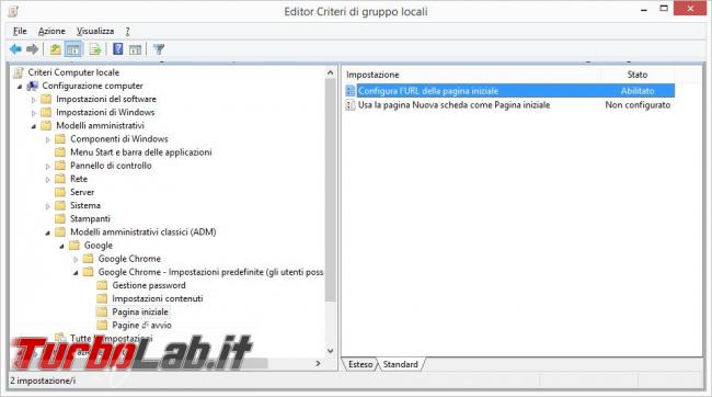 Configurare diversi profili Google Chrome impostazioni comuni tutti utenti