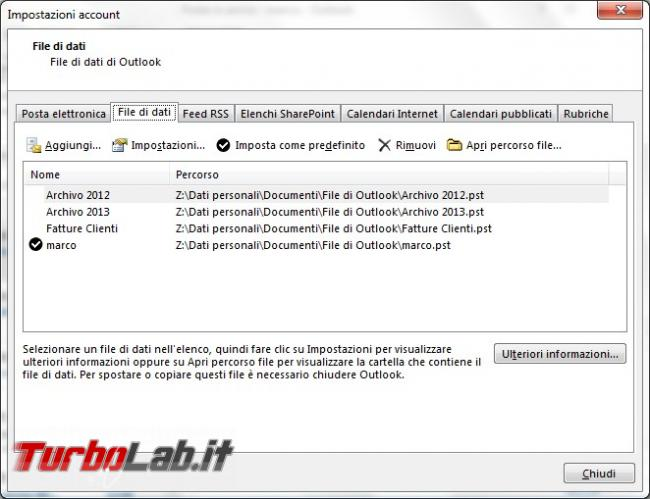 Configurare gestire posta outlook 2013
