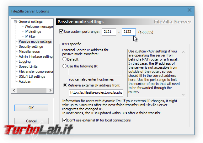 Configurare server FTP Windows: Grande Guida FileZilla Server - FileZilla Server Options_1