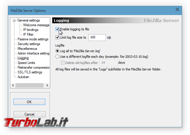 Configurare server FTP Windows: Grande Guida FileZilla Server - FileZilla Server Options_2