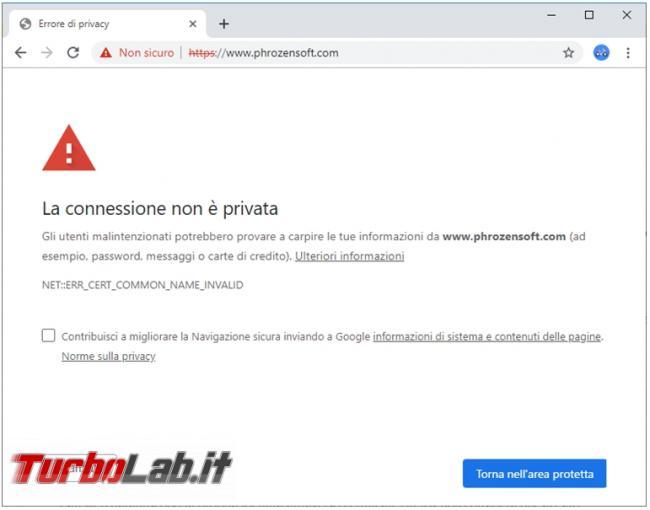 connessione browser si interrompe problemi certificato sicurezza sito