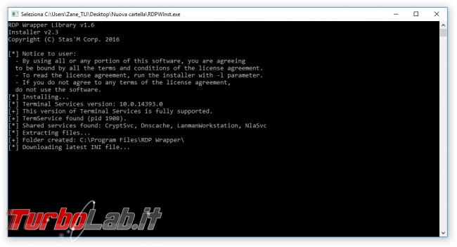 Connettersi Desktop remoto PC Windows 10, 8.1, 7 Home? possibile, tramite hack non-ufficiale - guida RDP Wrapper Library - RDP Wrapper Library install