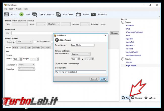 Convertire/copiare film Blu-ray DVD file MP4/MKV (H.264+AAC) - Grande Guida migliori impostazioni Rip HandBrake