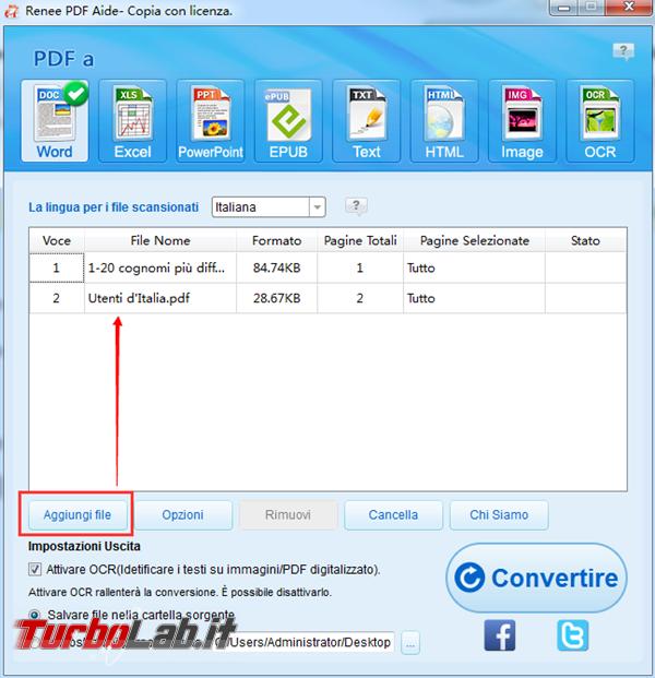 Convertitore gratuito convertire PDF excel altri formati modificabili - 1 aggiungere file pdf_600