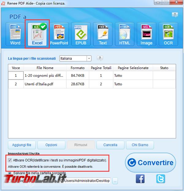 Convertitore gratuito convertire PDF excel altri formati modificabili - 2 scegliere formato esportato_600