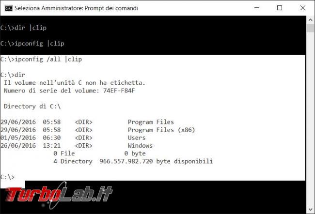 Copiare contenuto prompt comandi appunti Windows