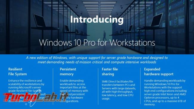 cos'è Windows 10 Pro Workstation? funzioni ha? Quali differenze Workstation Pro? - windows 10 pro per workstation banner microsoft