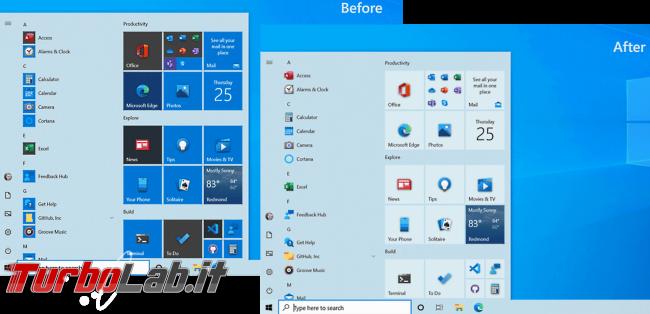 Cosa c'è nuovo Windows 10 20H2, Aggiornamento ottobre 2020: Tutte novità funzioni upgrade (video) - windows 10 2009 menu start before after
