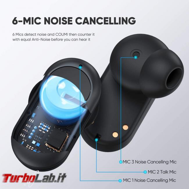 Coumi ANC-860: recensione prova auricolari Bluetooth Senza Fili (TWS) - noise cancellation2